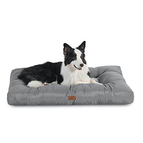 BEDSURE Hundekissen Grosse Hunde waschbar - Hundebett Wasserdicht XXL für große, mittelgroße Hunde gepolstert Hundematte grau in 10cm Höhe, 110x90cm