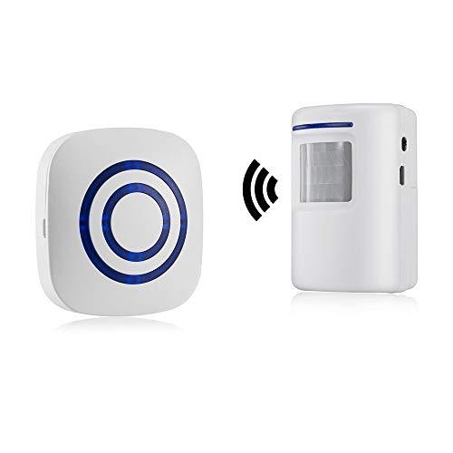 Durchgangsalarm, HommyFine Ladenglocke Funkalarmanlage mit Bewegungsmelder Zutrittsmelder Beweungsklingel mit 38 Klingeltönen Auffahrts-Alarmset mit Blauer LED Anzeige