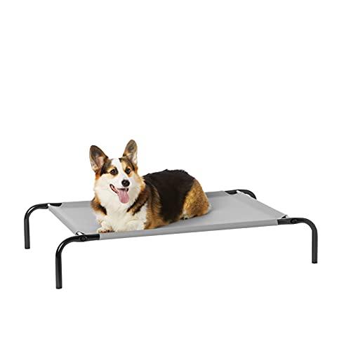 Amazon Basics – Erhöhtes Haustierbett mit kühlender Wirkung, Gr. M, 110 x 65 x 19 cm, Grau