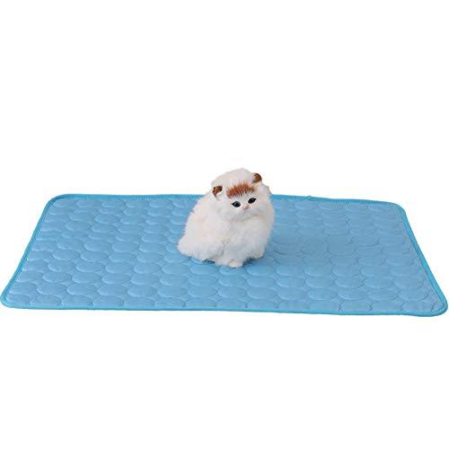 Delifur Kühlmatte für Katzen, selbstkühlendes Pad, waschbar, für den Sommer, Eisseide, Sofa-Matte, Katzen und Hunde, Bettunterlage (S, blau)