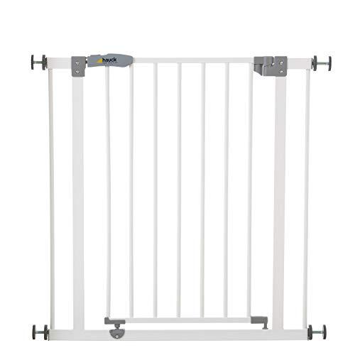 Hauck Türschutzgitter / Treppenschutzgitter für Kinder Open N Stop Safety Gate / ohne Bohren / 75 - 80 cm breit / erweiterbar mit separater Verlängerung / Metall Gitter / weiß