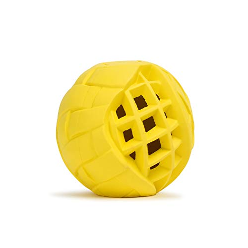 LoYoDo Hundeball   Leckerlie Snack Ball für Hunde   stabil, Hartgummi, leicht   Beschäftigungsspielzeug für Deinen Hund   ideal auch zum werfen   Spielzeug, befüllbar, bissfest   Gelb 7cm
