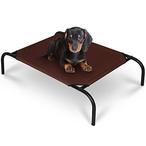 Hundeliege | L/B/H: 67/56/21 cm, für Innen und Außen, in Dunkelbraun, schützt vor Nässe und Wärme | Hundebett, Hundesofa, Katzenliege