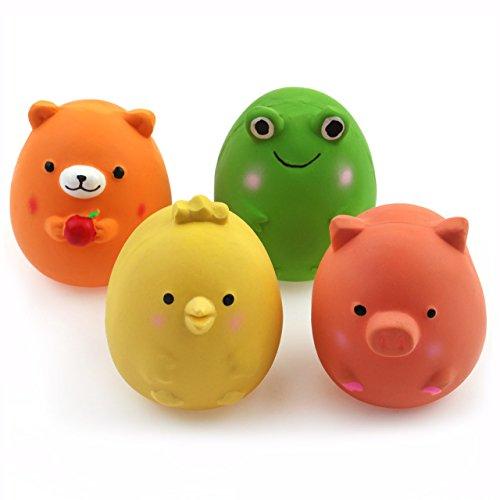 Chiwava 4 Stück 6cm Quitschende Hundespielzeug Latex Lustige Tier-Sets für Klein Hunde Interaktives Spielen Sortiert Farbe