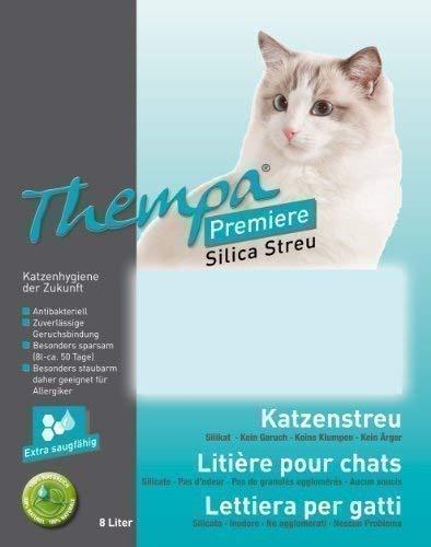 Thempa Premiere katzenstreu I 2 x 8 L I Doppelpack I 16 Liter I für ihre Katze I zuverlässige Geruchsbindung