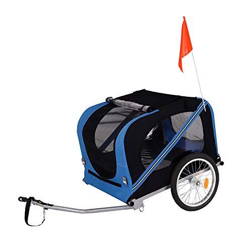 dibea Fahrradanhänger für Hunde inkl. Anhängerkupplung und Sicherheitsgurten Hundeanhänger blau/schwarz
