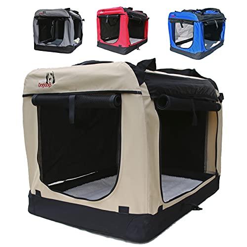 Hundetransportbox faltbar Transportbox für Hunde Hundebox Auto - Dogi Kennel - 6 Größen - 4 Farben (S (50 x 35 x 35 cm), Beige)