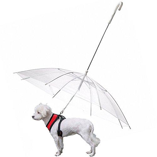 OMEM Hunde-Regenschirm mit Leine, regendicht, Durchmesser 77cm
