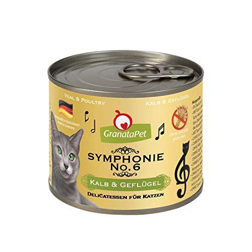 GranataPet Symphonie No. 6 Kalb & Geflügel, Katzenfutter ohne Getreide & Zuckerzusätze, Filet in natürlichem Gelee, delikates Nassfutter für Katzen, 6 x 200 g
