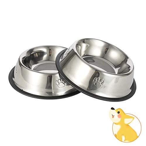 JINYJIA Edelstahl Hundenapf, Näpfe Hund, rutschfeste Hundenäpfe mit Rutschfester Gummibasis, Napfset für Futter oder Wasser, Haustier Futternapf für Mittelgroße Kleine Größe Hunde(2 Stück, 22cm)
