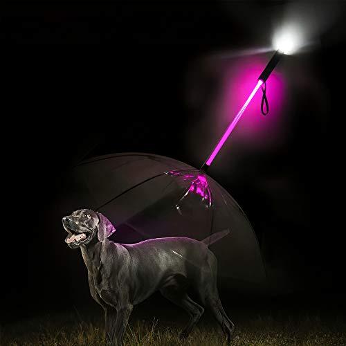 Decdeal Hund Regenschirm mit 7 Farben LED Licht, Durchmesser 84cm, Transparent