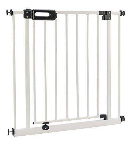 BOMI Türschutzgitter 63-251 | Ohne Bohren | 90° Stop | Schließt automatisch | Tuerschutzgitter weiß Metall Selbstschließend | Treppengitter zum Klemmen für Baby
