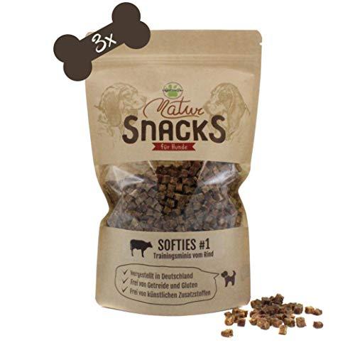 VigoPawtner Kleine und softe Hundeleckerli   3er Pack   Mini Trainingssnacks für kleine Hunde   Getreidefrei (Rind)