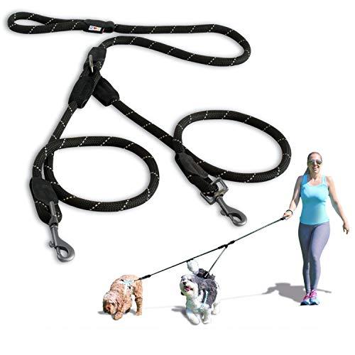 PAWTITAS Doppelleine fur Zwei Hunde   Hundeleine für Zwei Hunde ideal zum Trainieren und Gehen   Leine fur Hund fur Klein Hund und Grosse Hund - Extra Kleine und Kleine Schwarze Hundeleine