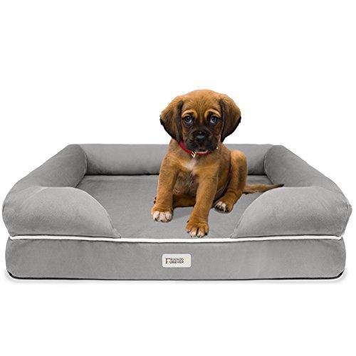 SCM Orthopädisches Hundebett Tierbett Memory Foam Hundesofa Dog Bed Premium Prestige Edition Hundekorb gelenkschonend grau, weich (63 x 50 cm)