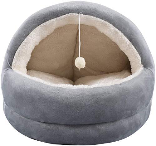Dololoo Katzenhöhle Katzen Haus Katzenbett Haustier Pet Schlafsack für Katzen Kätzchen und Hund grau (S:40×30×25CM)
