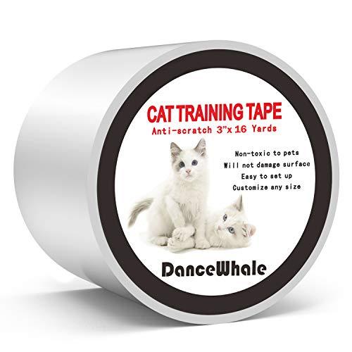 DanceWhale Anti Kratze Katzen Traning Klebeband, 7.5cm x 14.7m Kratzschutz Katze Hund Transparent Selbstklebend Kratzfestes für Sofa, Tür, Tisch, Möbel