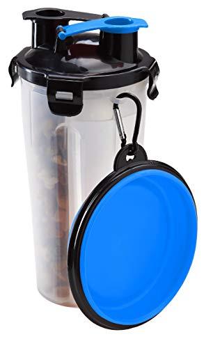 Pullach Hof Hundenapf Reiseflasche Wassernapf Futter Wasser Transportbehälter 2in1 Fressnapf für Hunde Unterwegs
