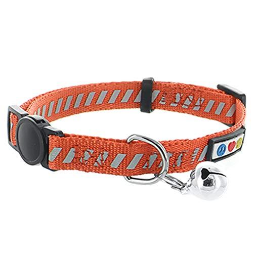PAWTITAS Reflektierendes Katzenhalsband für den Straßenverkehr mit Sicherheitsschnalle und Abnehmbarer Glocke Katzenhalsband Kätzchenhalsband Orange Katzenhalsband