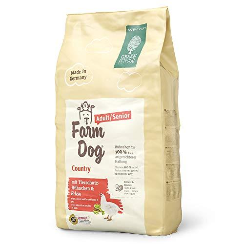 Green Petfood FarmDog Country Adult/Senior (1 x 10 kg) | Hundefutter mit Tierschutz-Hühnchen und Erbse | nachhaltiges Trockenfutter für ältere und ausgewachsene Hunde | 1er Pack