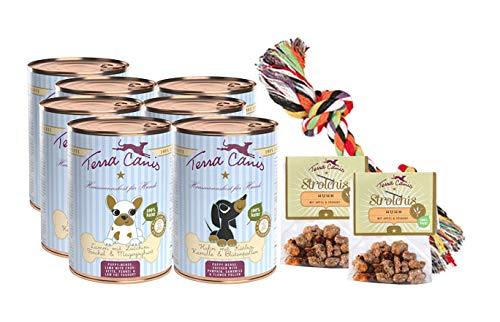 Terra Canis Welpen Nassfutter I Reichhaltiges Premium Hundefutter in echter Lebensmittelqualität Aller Rohstoffe I Kennenlernpaket I Allergenarm, getreidefrei & glutenfrei