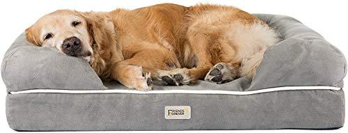 SCM Orthopädisches Hundebett Tierbett Memory Foam Hundesofa Dog Bed Premium Prestige Edition Hundekorb gelenkschonend grau, weich (111 x 86 cm)