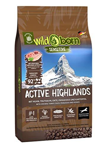 Wildborn Active Highlands Hundefutter getreidefrei mit 92% tierischem Eiweiß* | sensitives Hundefutter für aktive Hunde Made in Germany (15 kg)