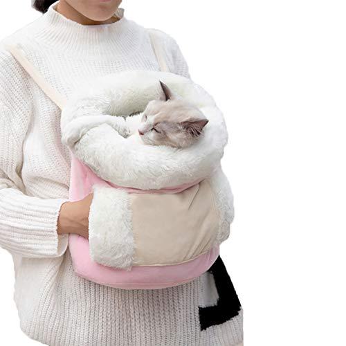 FEDYS Katzenrucksack Transport Hunderucksack bis 10 kg, Pink Transporttasche für Haustiere,Faltbarer Raum Tragetasche,Warm and Soft Katzen Box für Hund/Katze/Hase Reisetasche Tasche,Backpack