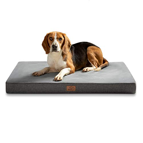 Bedsure orthopädische Hundekissen große Hunde - Flauschiges Hundebett waschbar mit Memory Foam, kuscheliges Hundehaus in Größe 90x55x8 cm, grau