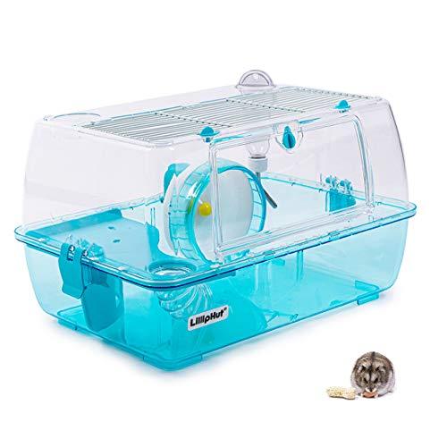 Zedelmaier Hamster Laufrad Spielzeug Transportbox für HamsterNager Mäuse(kein Hamsterheim) mit Rohrsystem, Trinkflasche (Blau - 47 x 32 x 27,5 cm)