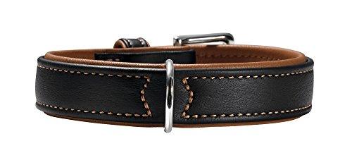 HUNTER CANADIAN Hundehalsband, Leder, hochwertig, weich, 60 (M-L), schwarz/cognac