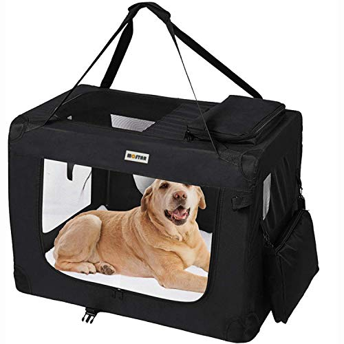 MC Star leichte transportbox Hund Haustier Hundeboxen Auto Hundetransportbox faltbar mit Fleece-Matte, Hundekäfig Hundetasche Transporttasche Stoff Oxford Schwarz L 70cm
