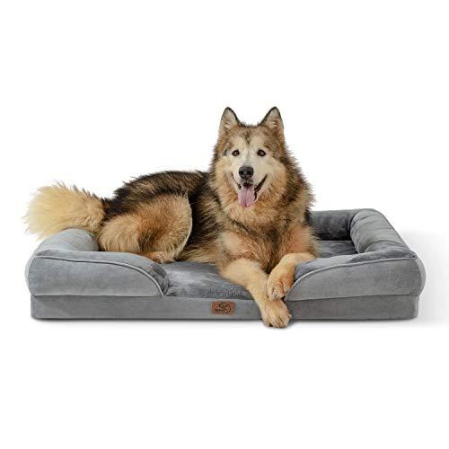 Bedsure orthopädisches Hundebett Ergonomisches Hundesofa - Hundecouch mit eierförmiger Kistenschaum für große Hunde, waschbar rutschfest Hundebetten, Größe in 106x80 cm