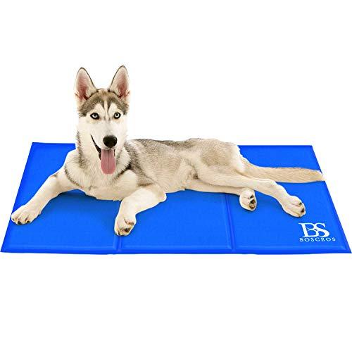 Bosceos L Kuhlmatte Für Hunde Katzen Haustiere, wasserdichtes und kratzfestes Selbstkühlende Bett, ungiftig,benutzt als Kühlkissen Haustier,Blau(90x50cm)