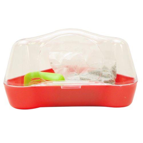 Living World 61741 Ecktoilette für Hamster, rot/farblos