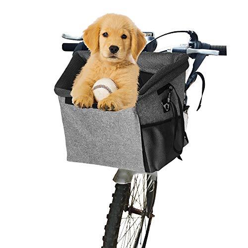 Arkmiido Fahrradkorb für Hunde, Hundekorb Fahrrad Vorne Faltbar und Abnehmbar, für kleine Haustiere, Maximale Belastung für 5 KG, Einfache Installation