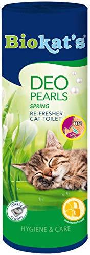 Biokat's Deo Pearls Spring - Streuzusatz mit Duft für Frische und feste Klumpen in der Katzentoilette - 6 Dosen (6 x 700 g)