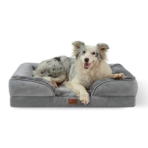Bedsure orthopädisches Hundebett Ergonomisches Hundesofa - Hundecouch mit eierförmiger Kistenschaum für mittlere Hunde, waschbar rutschfest Hundebetten, Größe in 89x63 cm