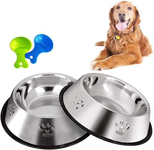 Legendog 2 Stück Edelstahl Hundenapf, rutschfeste Hundenäpfe/Futternapf und Hundenapf mit Löffel (22CM)
