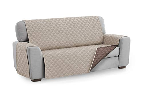 Textil-home Sesselschoner Sofaüberwurf MALU, 3 Sitzer - Reversibel gepolsterter Sofaschutz. Farbe Beige