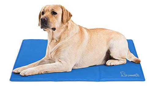 Pecute Kühlmatte Hunde Katzen(120 *75 cm), Kuhlmatte für Hund und Katze mit Ungiftiges Gel,Selbstkühlende Kissen, Kühl Hundedecke, Kaltgelpad für Katzen und Hunde, Blau,XL