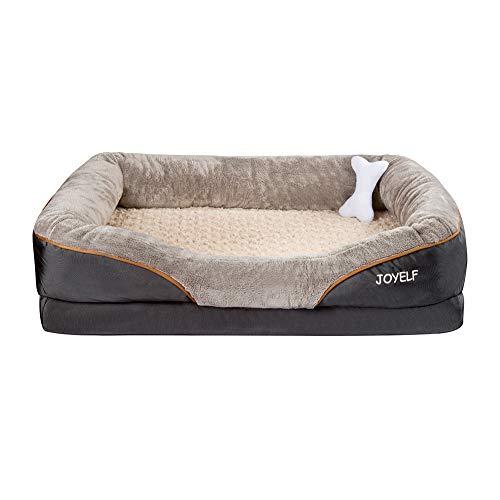 JOYELF Large Memory Foam Hundebett orthopädisches Hundebett & Sofa mit abnehmbarem waschbarem Bezug und Quietschspielzeug als Geschenk