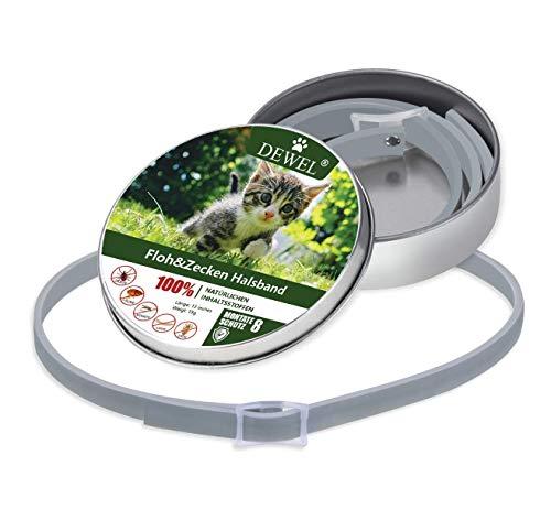 DEWEL 33cm Flohhalsbänder für Katze, Halsbänder gegen Ungeziefer Verstellbar und Wasserdicht Zeckenhalsband