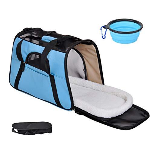 Queta Hundetasche Katzentransportbox Hundetragetasche Katzentransporttasche Hundetasche für Kleine Hunde Katze Reise Flugzeug Blau