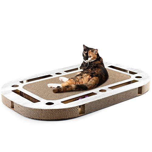 CanadianCat Company ® | XXL Katzenspielplatz 85 x 54 x 5,8 cm mit integrierter Kratzpappe Katzenspielzeug Kratzbrett in weiß gekalkter Holzoptik Kratzkarton
