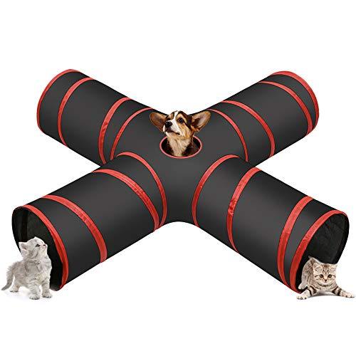 Cozy Vibe Katzenspielzeug Katzentunnel, Katze Spielzeug Hundenspielzeug Spieltunnel 4-Wege Pet Play Tunnel Tube für Katze, Welpe, Kitty, Kätzchen, Kaninchen(4-Wege, Rot)