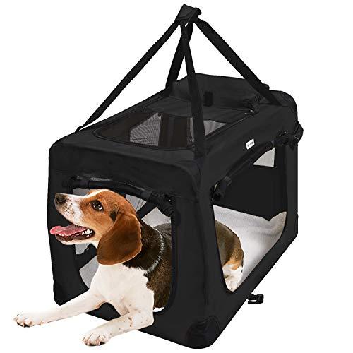 MC Star leichte Hundetransportbox 82cm XL Hundebox käfig faltbar Transportbox Hunde mit Fleece-Matte, Hundekäfig Hundetasche Auto Transporttasche für Haustier Stoff Oxford Schwarz