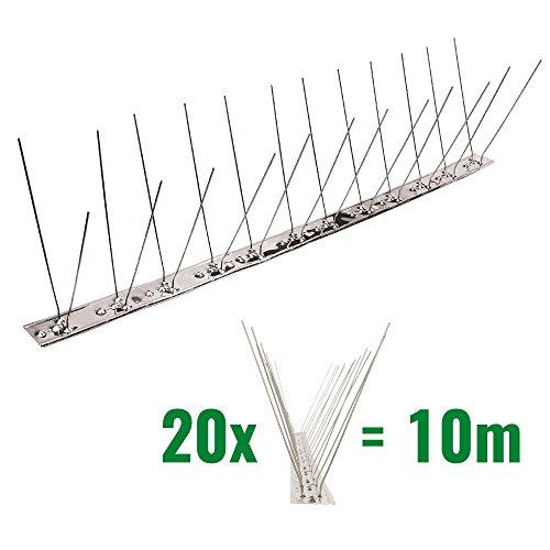 Pestsystems 10 Meter Taubenspikes 2-reihig auf V2A-Flexleiste - hochwertige Lösung für Vogelabwehr Taubenabwehr Edelstahl Spikes