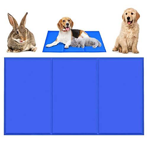 Qisiewell Kühlmatte Hunde Katzen Blau L 90 * 50cm Kuhlmatte Für Hunde und Katzen Kühlkissen Kühl Hundedecke Kaltgelpad für Katzen und Hunde Selbstkühlende Matte
