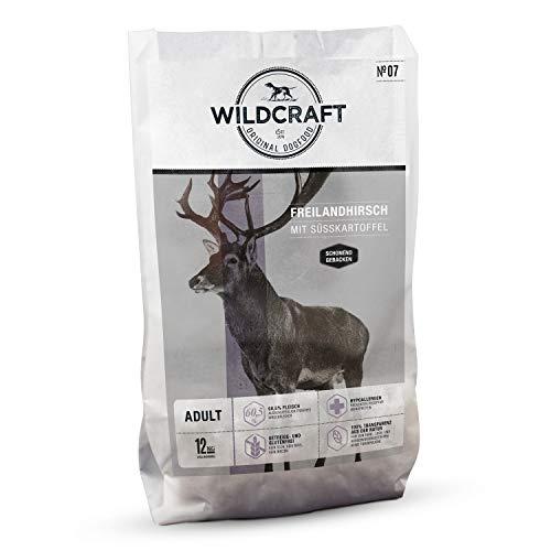 Wildcraft - 12 kg - Trockenfutter für Hunde - getreidefrei - Freilandhirsch mit Süßkartoffel - Monoprotein - Hoher Fleischanteil - Schonend gebacken